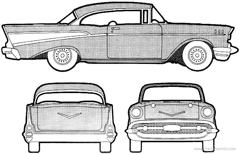 Blueprints Cars Chevrolet Chevrolet Bel Air Sport Coupe 1957