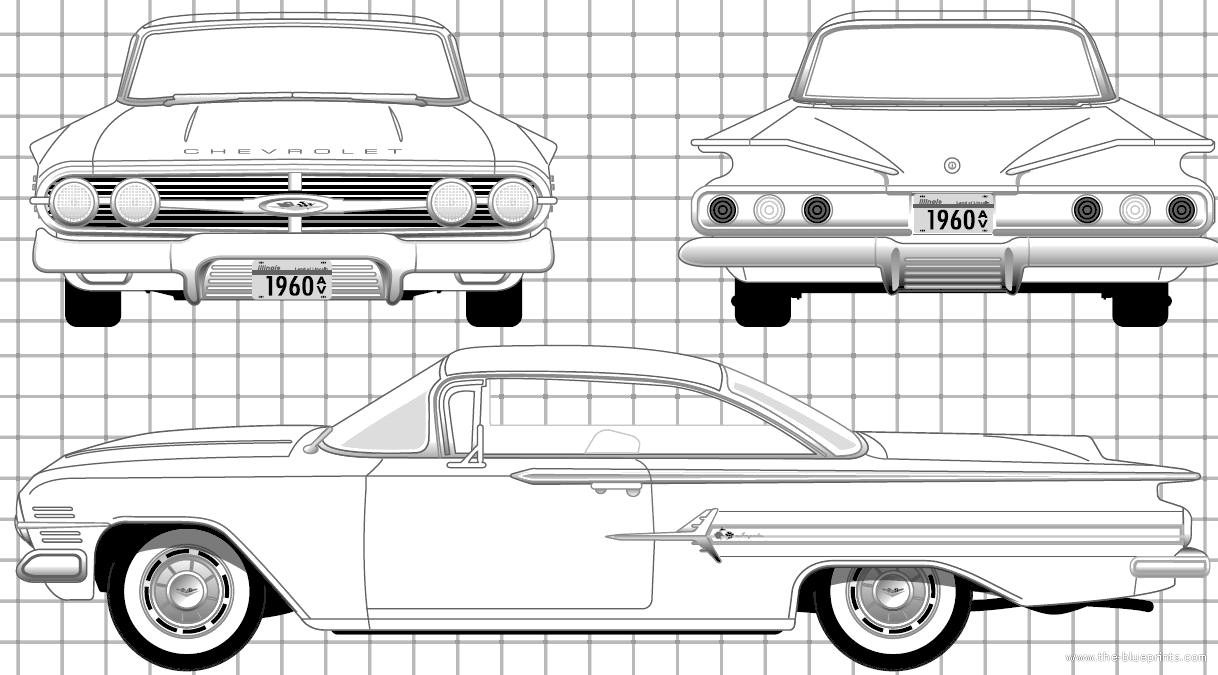 blueprints  u0026gt  cars  u0026gt  chevrolet  u0026gt  chevrolet impala sport coupe  1960