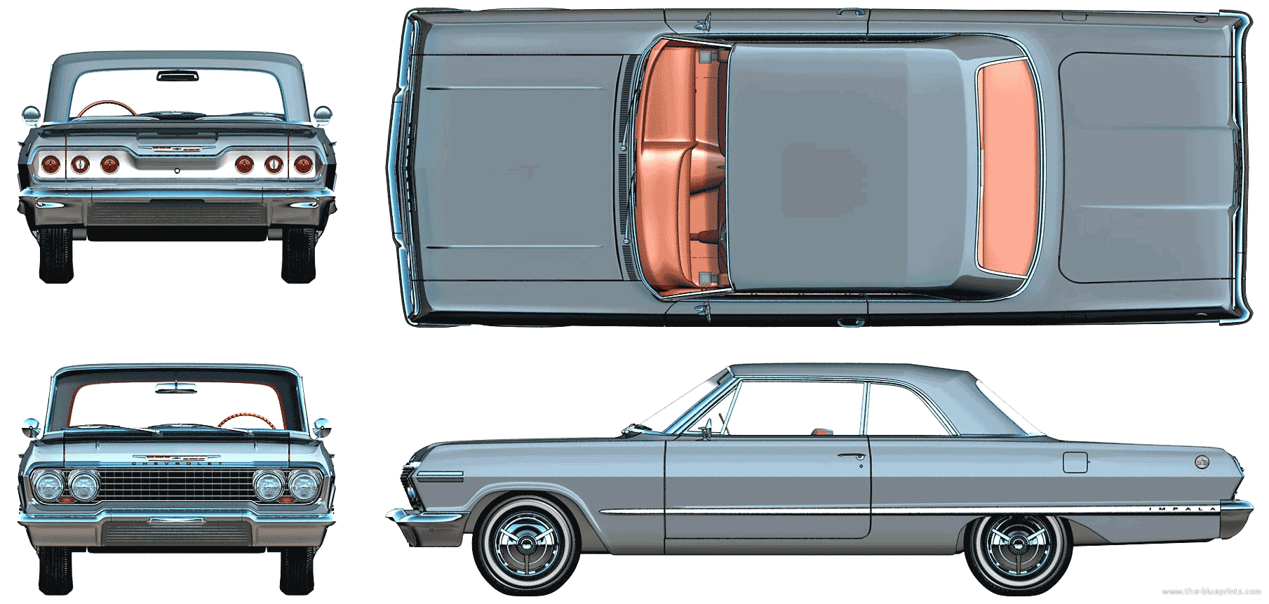 1964 Chevrolet Impala Lowrider Coupe blueprint | References ...