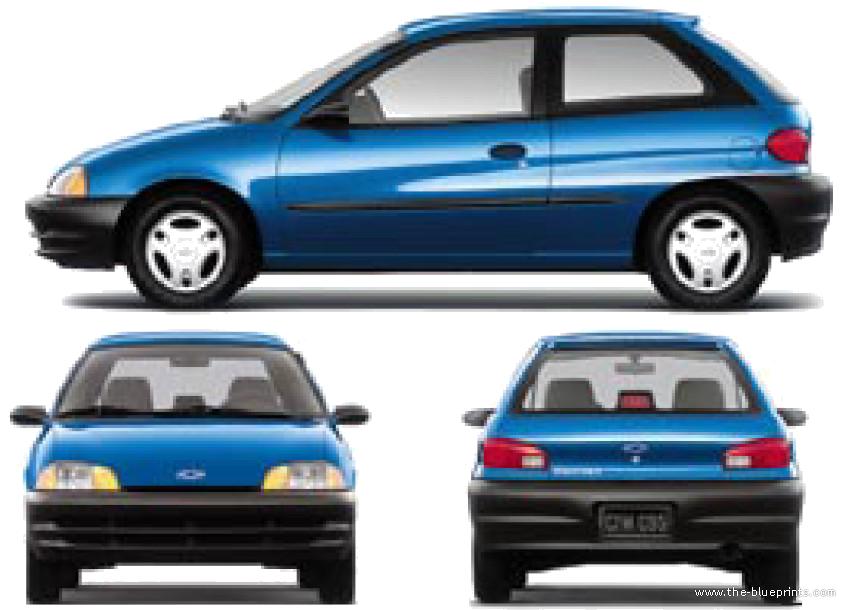 The-Blueprints.com - Blueprints > Cars > Chevrolet > Chevrolet Metro 3 ...