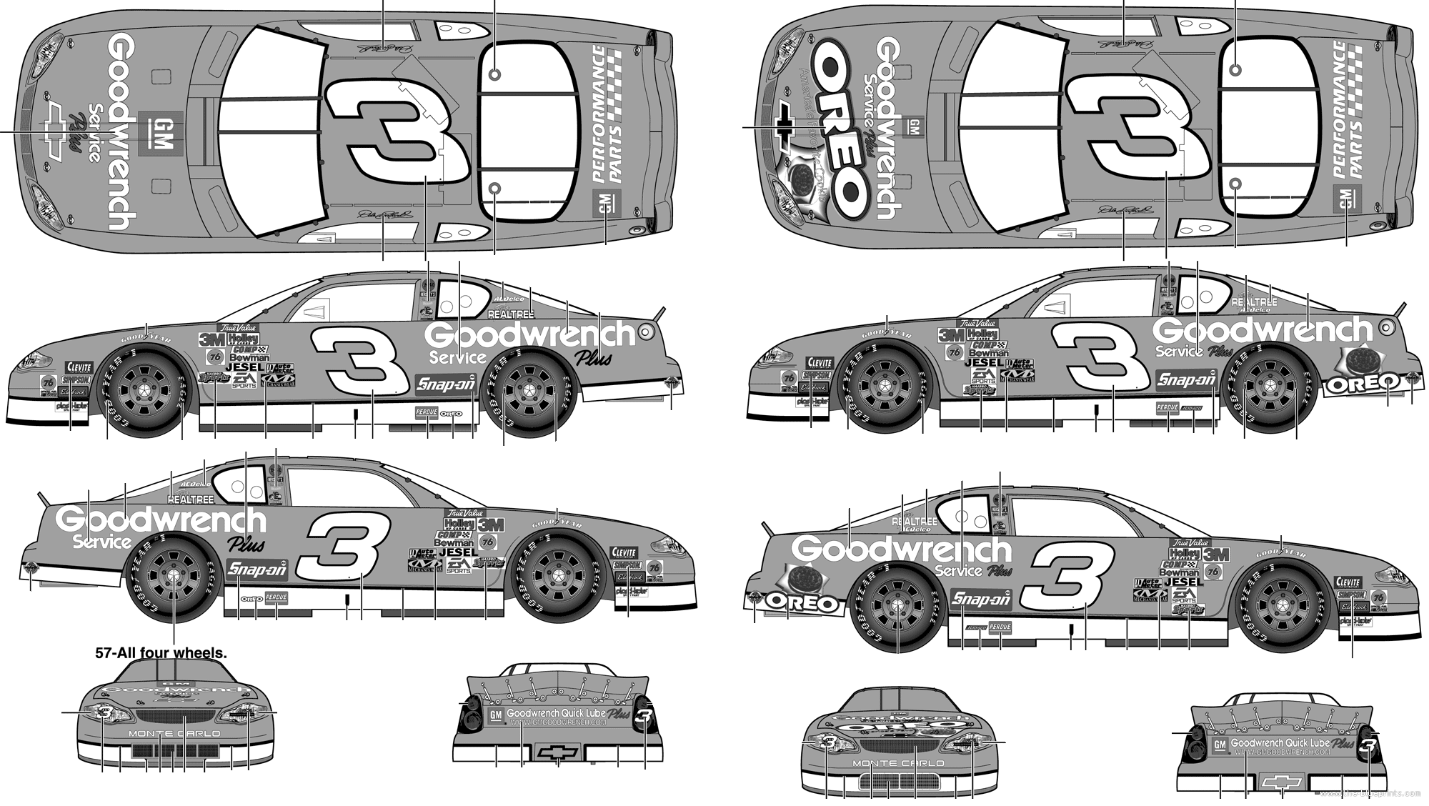 Blueprints Cars Chevrolet Chevrolet Monte Carlo Stock Car No3