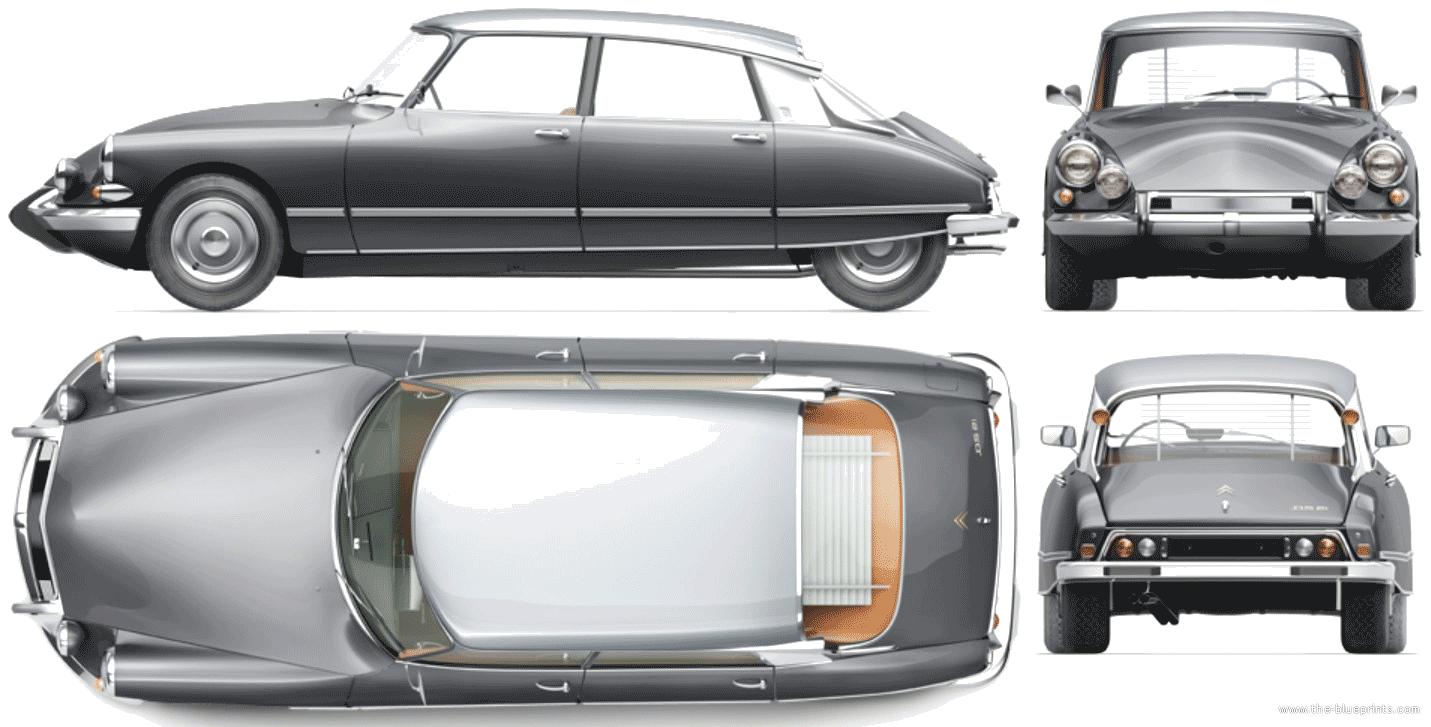 the blueprints cars citroen citroen ds 21 pallas 1966. Black Bedroom Furniture Sets. Home Design Ideas