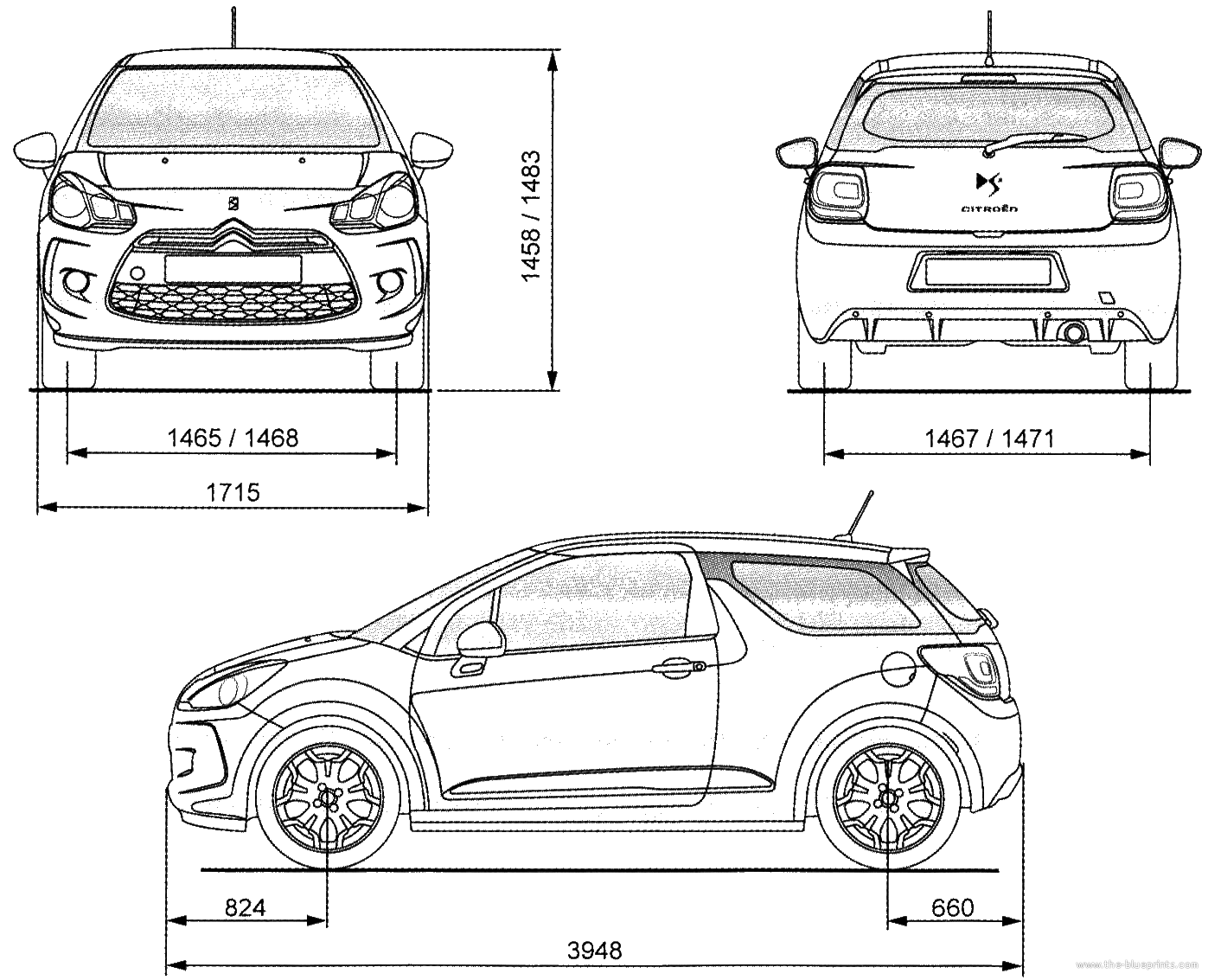 car blueprint with dimensions