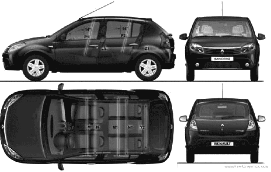 blueprints cars dacia dacia sandero 2010. Black Bedroom Furniture Sets. Home Design Ideas