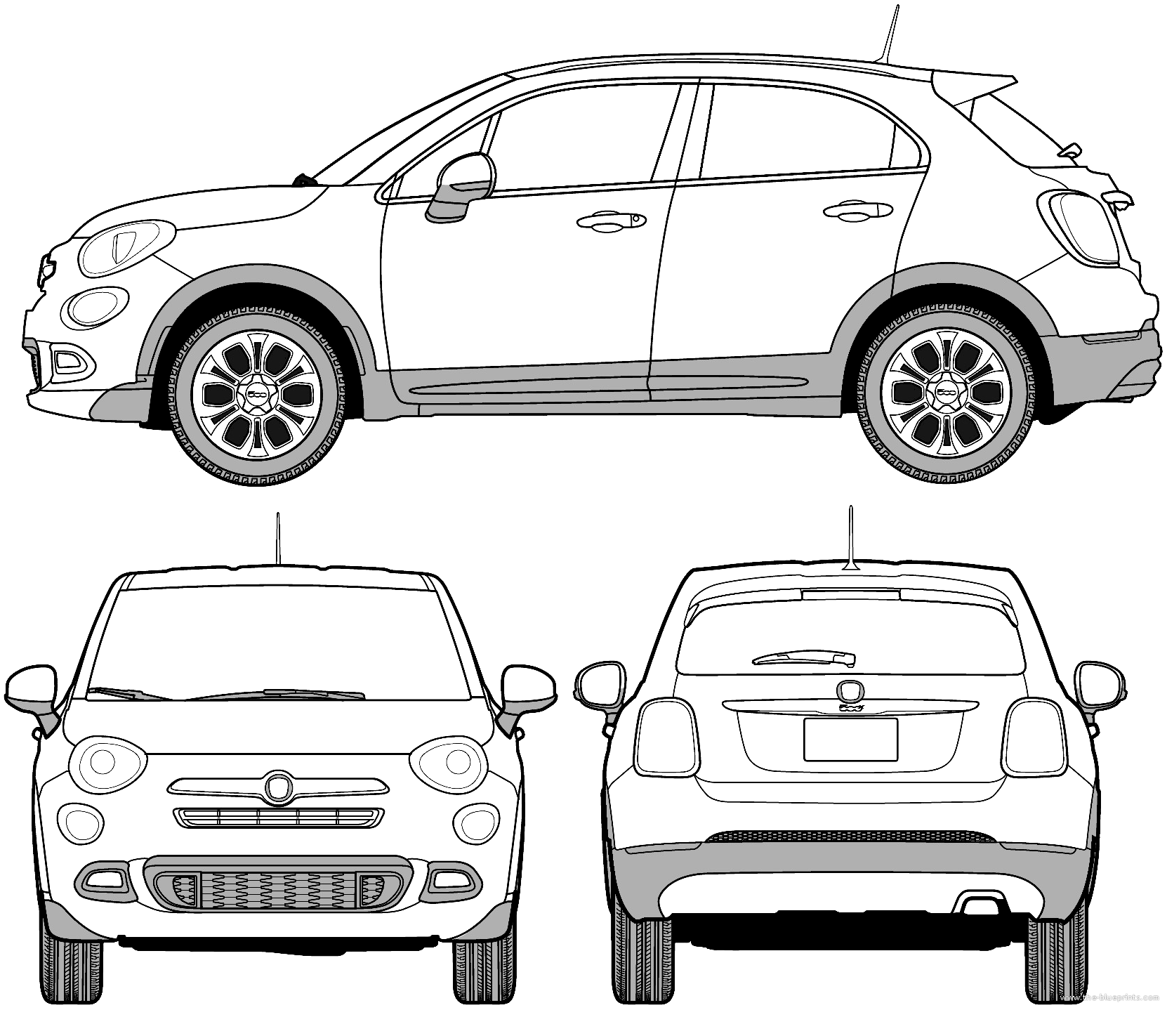 blueprints cars fiat fiat 500x street 2015. Black Bedroom Furniture Sets. Home Design Ideas