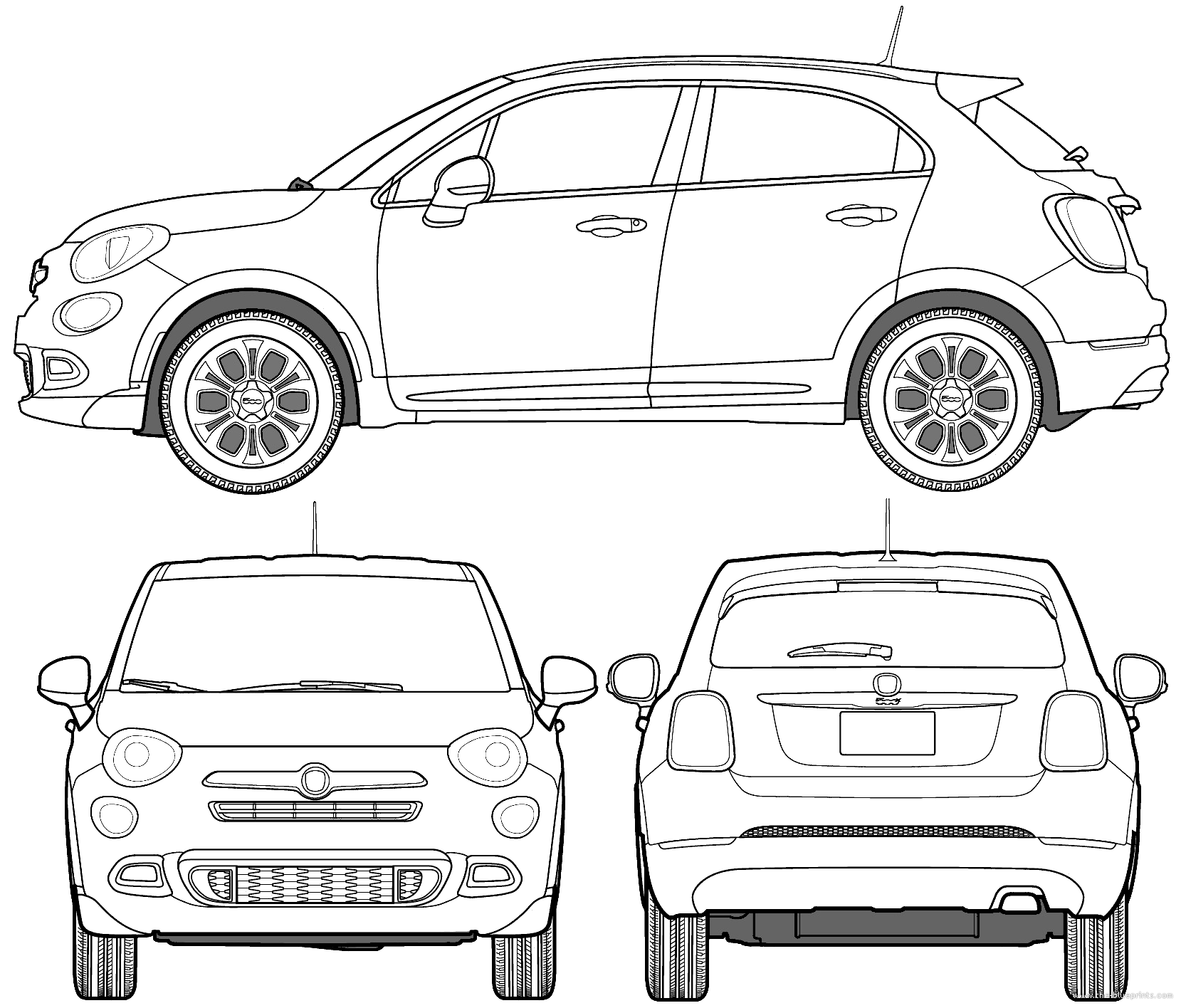 the blueprints cars fiat fiat 500x street 2016. Black Bedroom Furniture Sets. Home Design Ideas