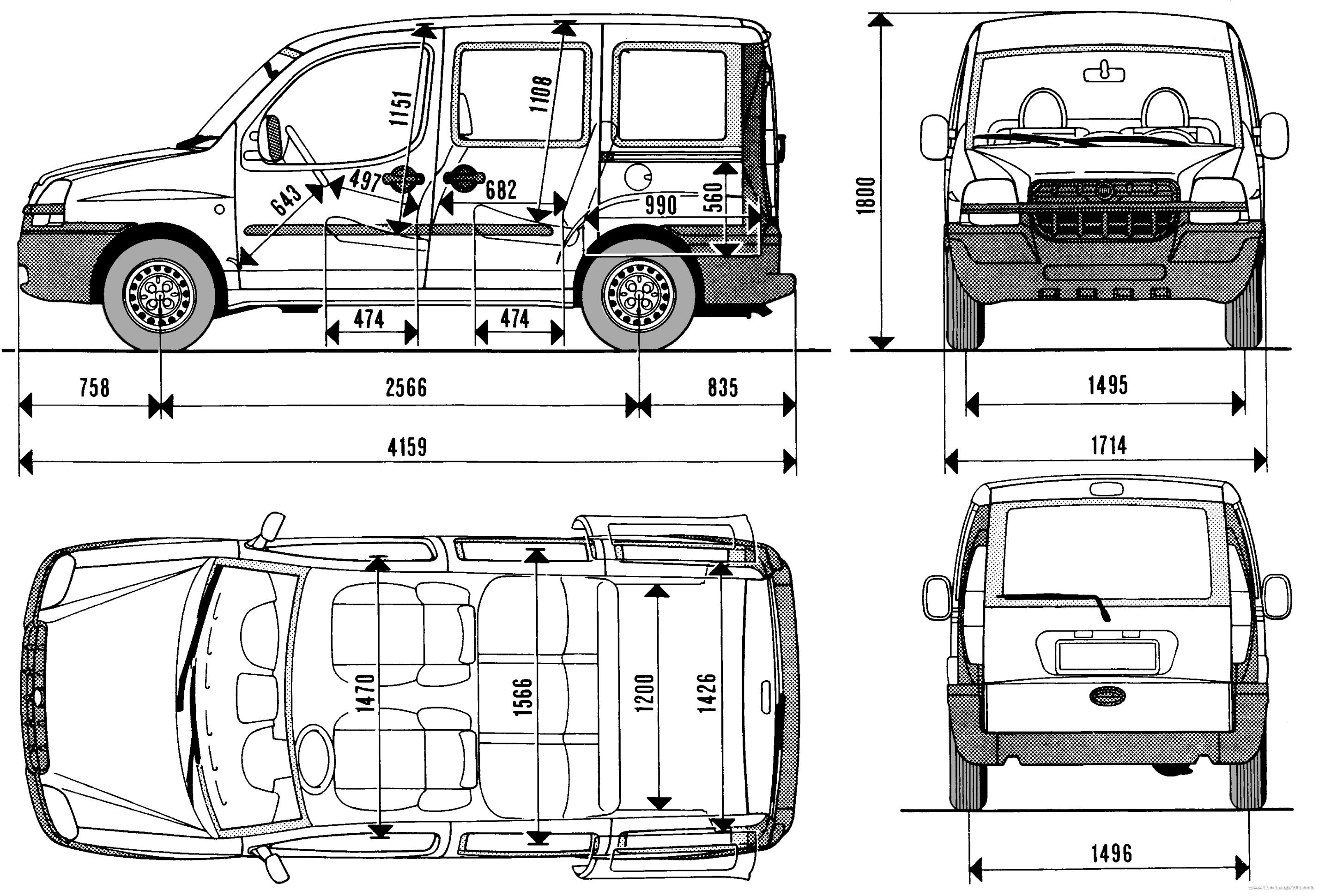 the blueprints cars fiat fiat doblo 2001. Black Bedroom Furniture Sets. Home Design Ideas