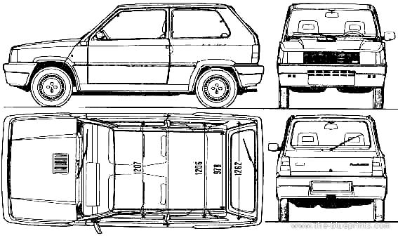 the blueprints cars fiat fiat panda 1000s 1988. Black Bedroom Furniture Sets. Home Design Ideas