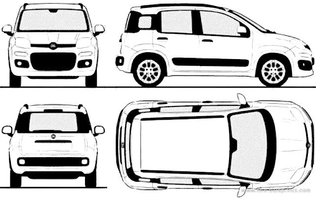the blueprints cars fiat fiat panda 2014. Black Bedroom Furniture Sets. Home Design Ideas