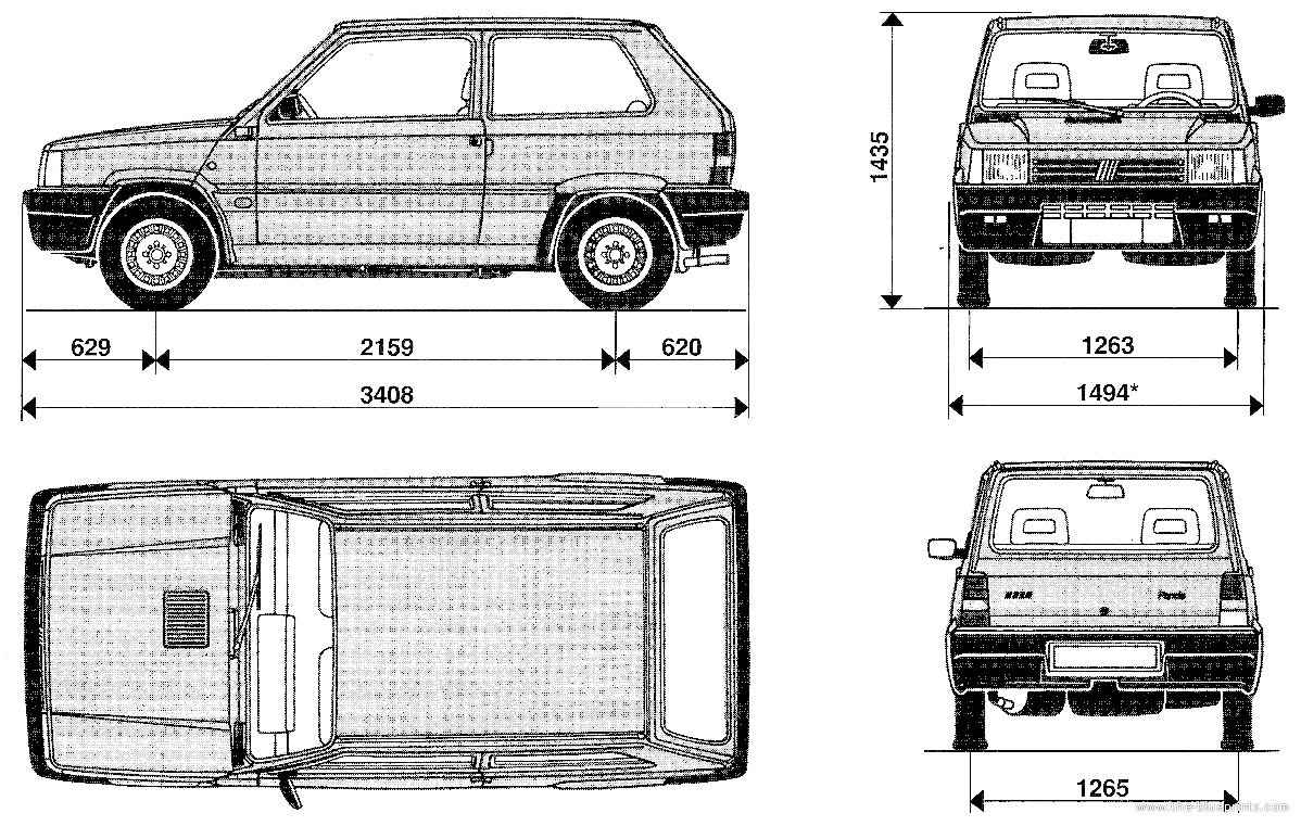 the blueprints cars fiat fiat panda. Black Bedroom Furniture Sets. Home Design Ideas