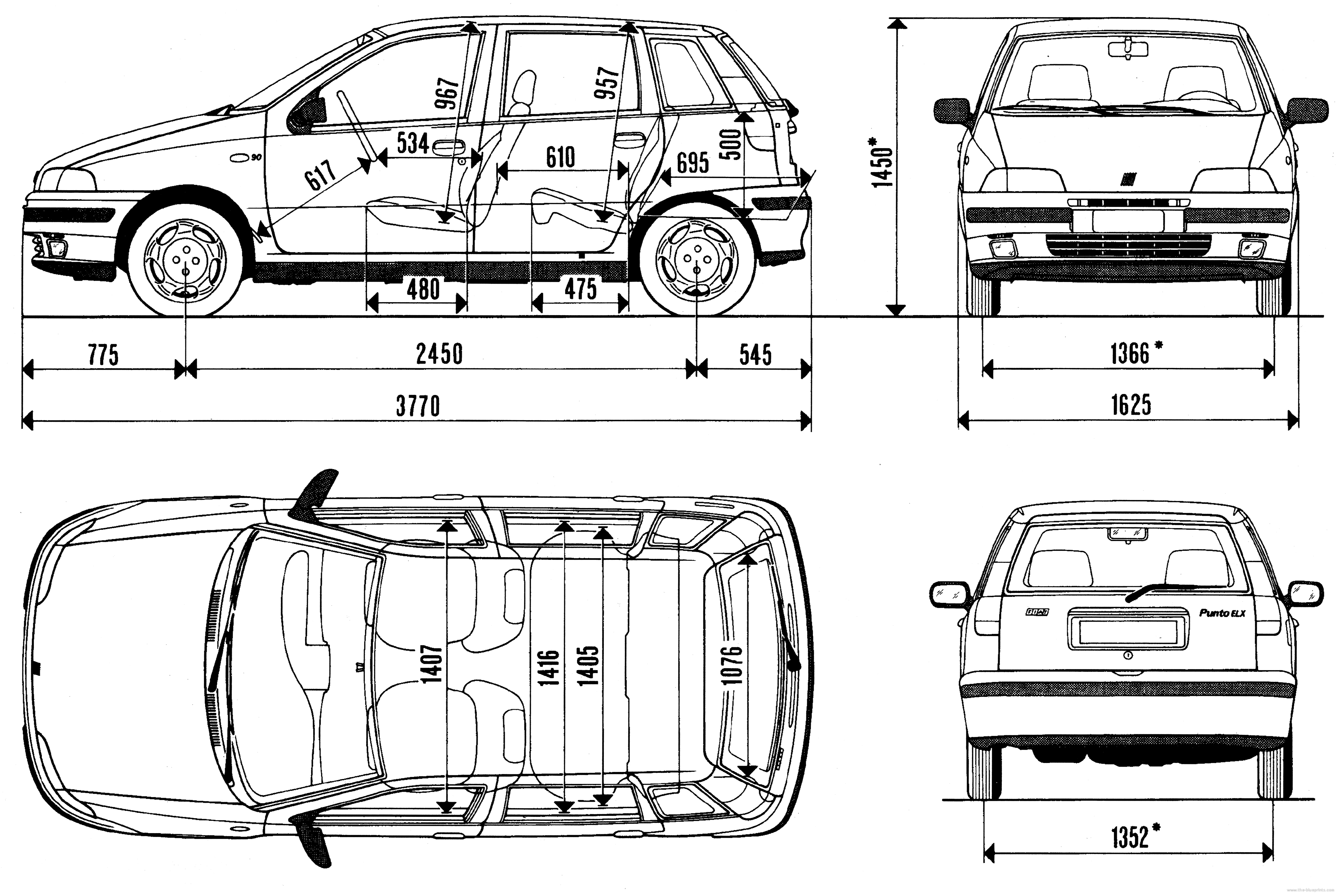 the blueprints cars fiat fiat punto 1995. Black Bedroom Furniture Sets. Home Design Ideas