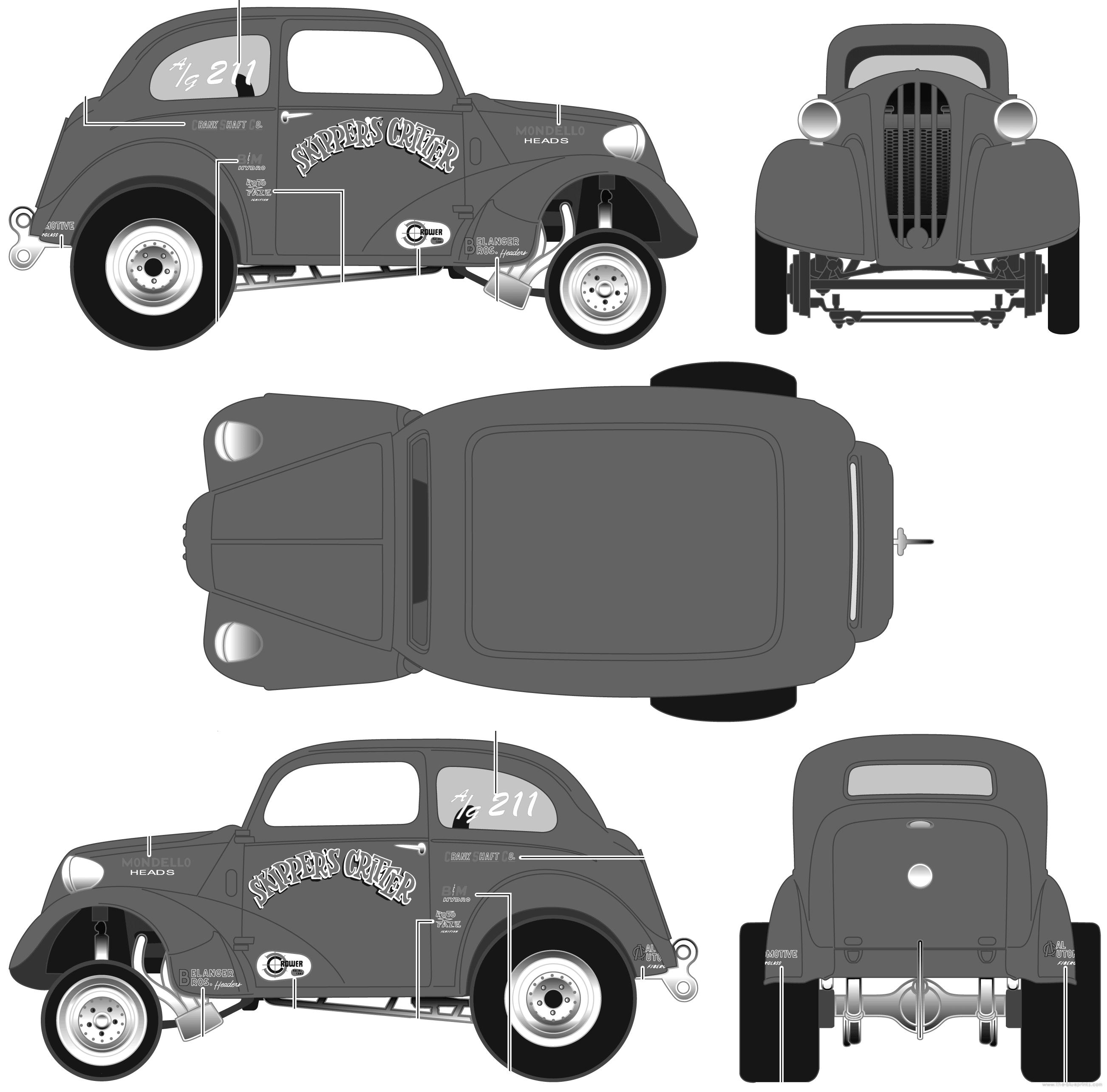 Blueprints > Cars > Ford > Ford Anglia Drag Sedan (1951)