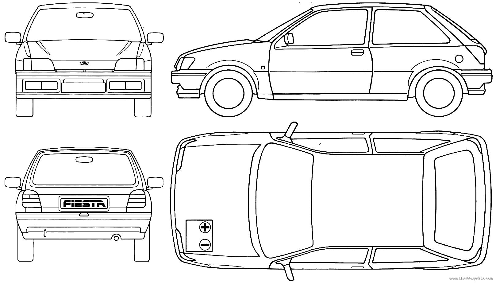 blueprints cars ford ford fiesta 3 door 1990. Black Bedroom Furniture Sets. Home Design Ideas