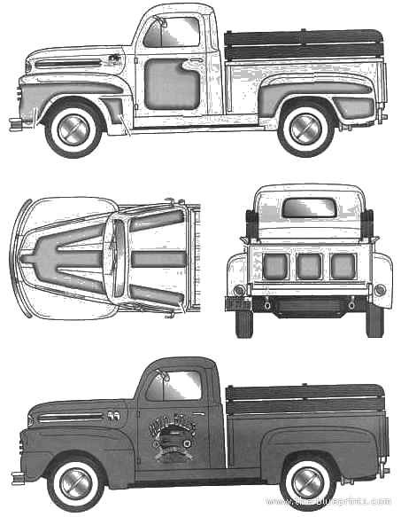 blueprints cars ford ford f 1 pick up 1950. Black Bedroom Furniture Sets. Home Design Ideas