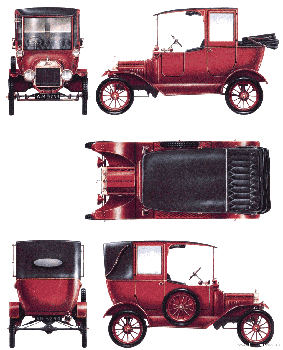 blueprints cars ford ford model t town car 1915. Black Bedroom Furniture Sets. Home Design Ideas