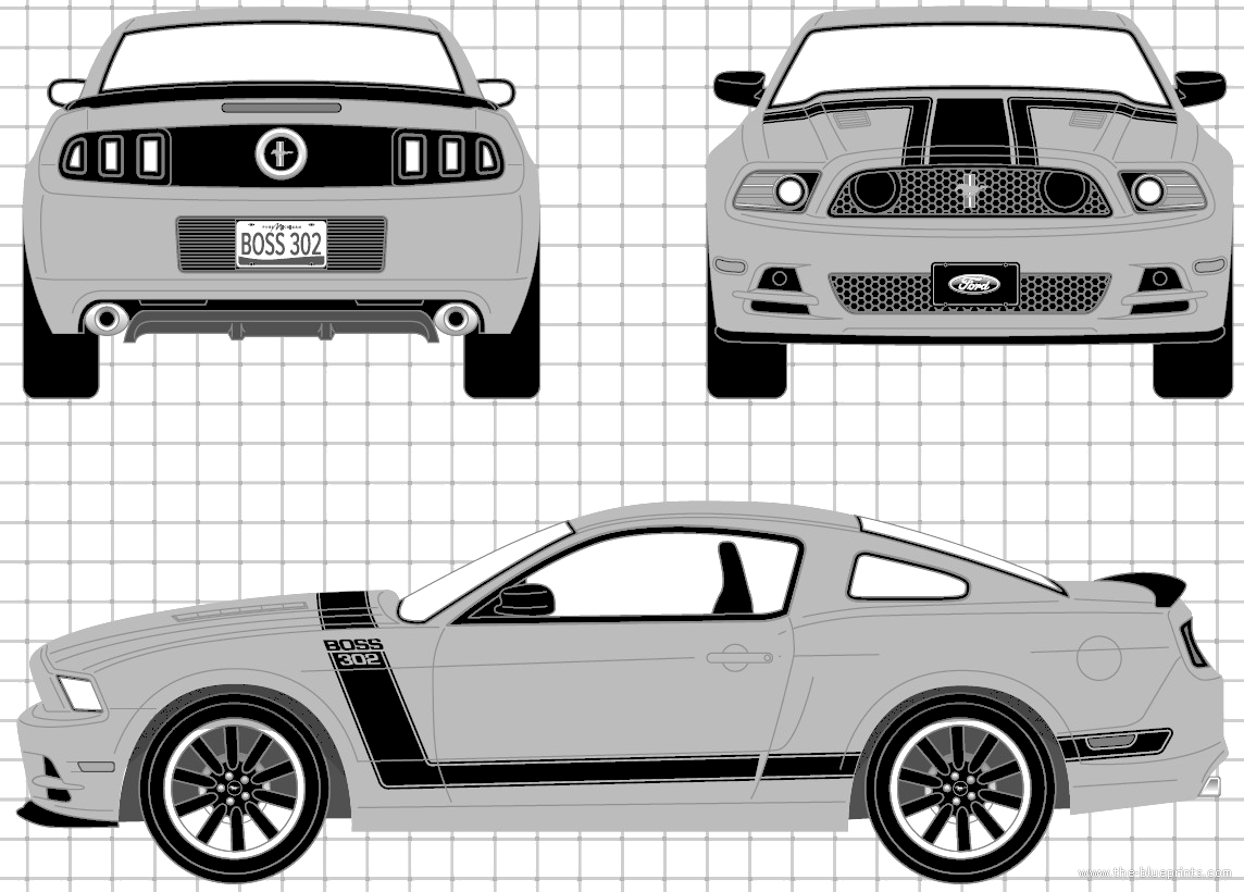 Blueprints Cars Ford Mustang Boss 302 2013 2014 302s