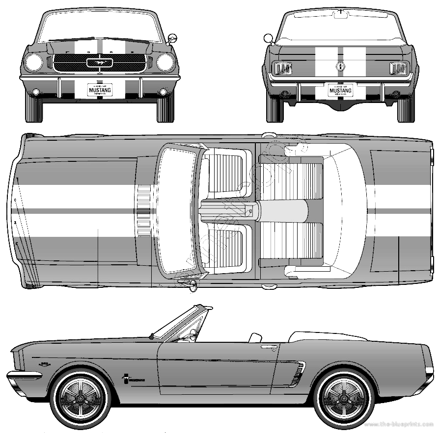 Blueprints Cars Ford Mustang Convertible 1964 Gt