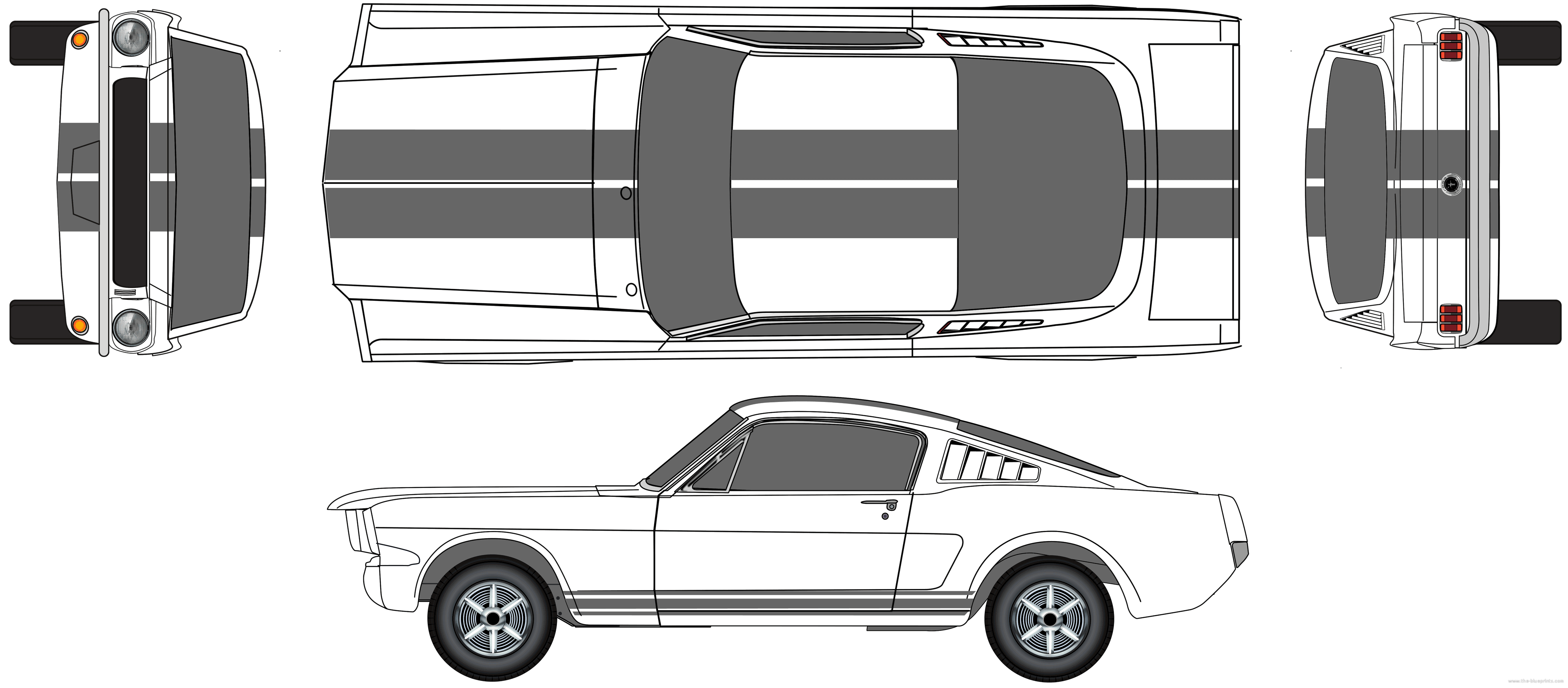 Blueprint Mustang The Vector Drawing Ford Mustang Fastback. The ...