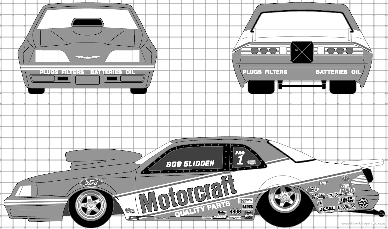 Blueprints cars ford ford thunderbird pro stock 1987 ford thunderbird pro stock 1987 malvernweather Image collections