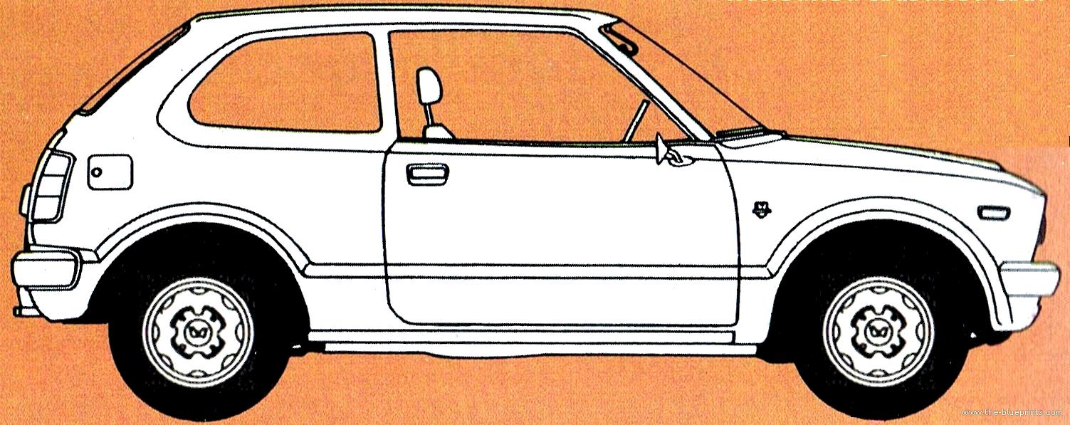 blueprints cars honda honda civic 3 door 1975. Black Bedroom Furniture Sets. Home Design Ideas