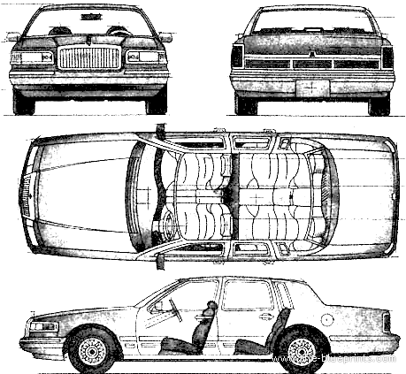 Blueprints > Cars > Lincoln > Lincoln Town Car (1997)