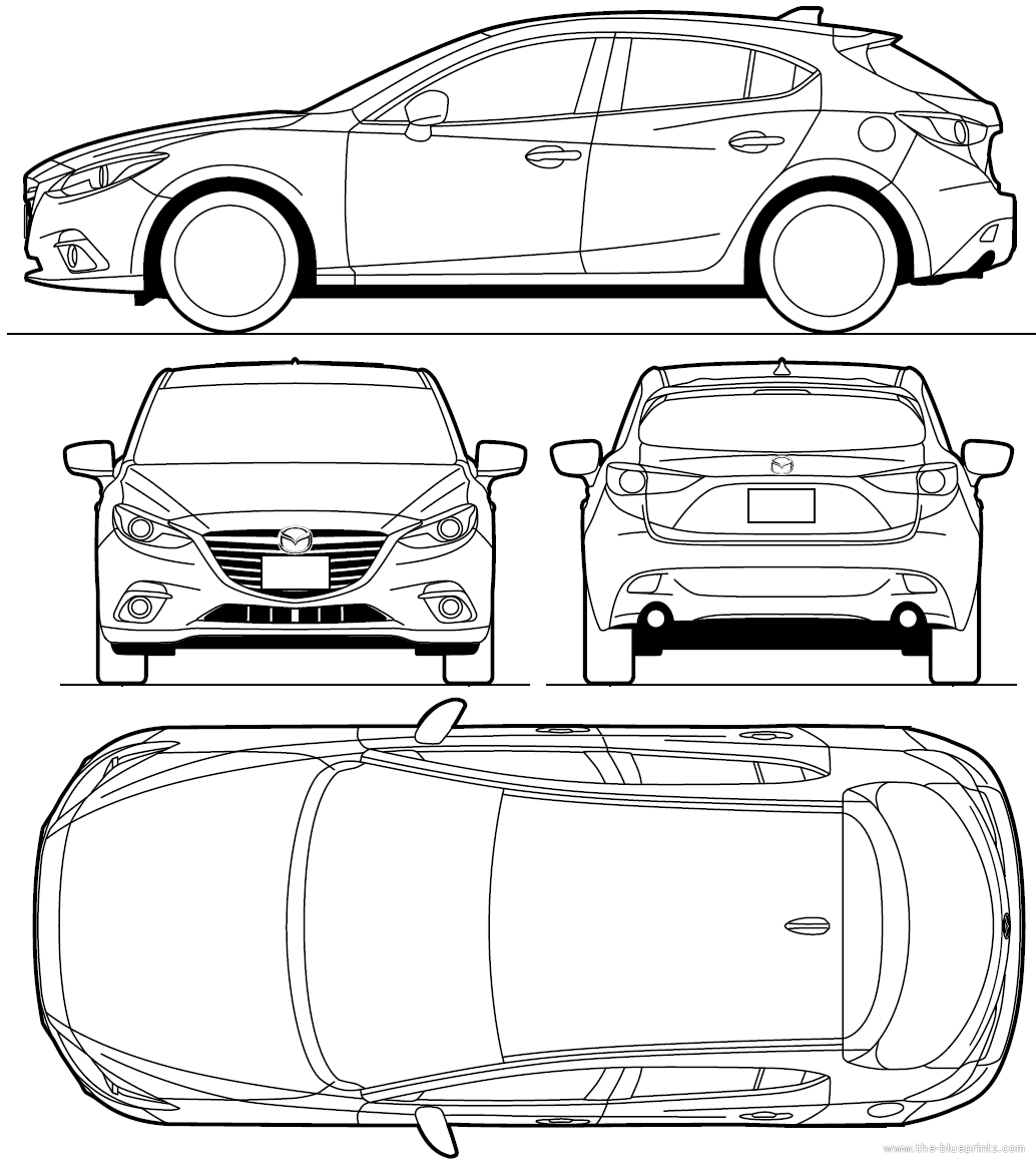 the blueprints cars mazda mazda 3 hatchback 2013. Black Bedroom Furniture Sets. Home Design Ideas