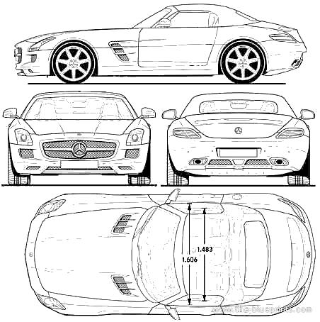 The blueprints depot cars mercedes benz amg sh3 mercedes benz sls amg roadster 2011 malvernweather Choice Image