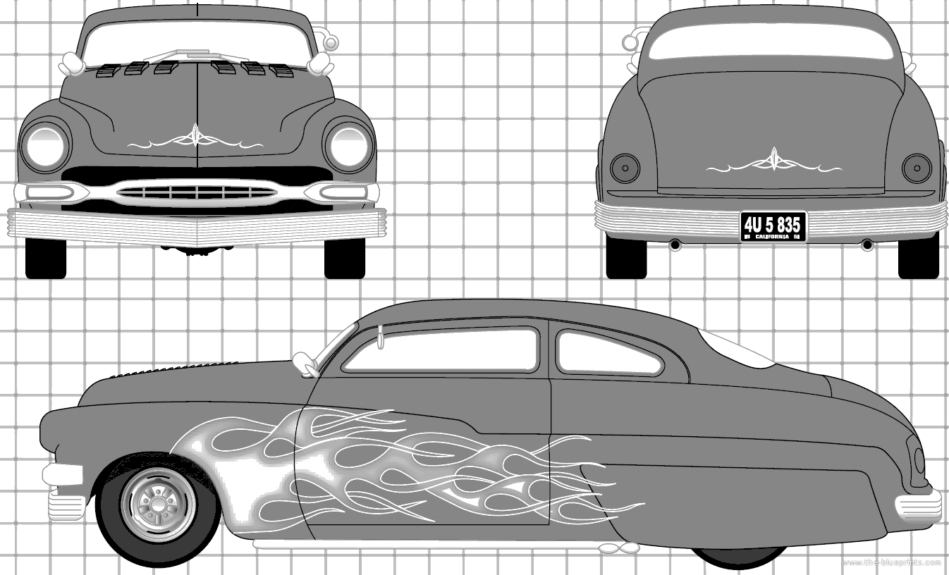 Blueprints cars mercury mercury custom coupe 1949 for Custom blueprints