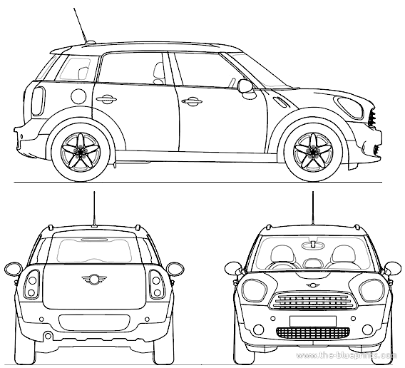 the blueprints voitures mini mini countryman 2011. Black Bedroom Furniture Sets. Home Design Ideas