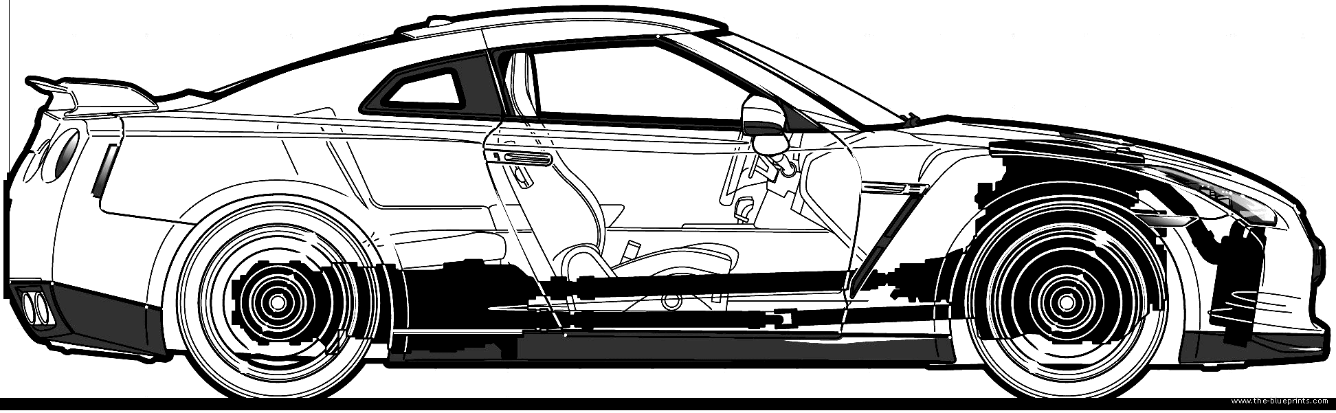 Nissan Gtr R35 Blueprint Recomended Car Sketch Gt R Blueprints Source Cars Premium 2010