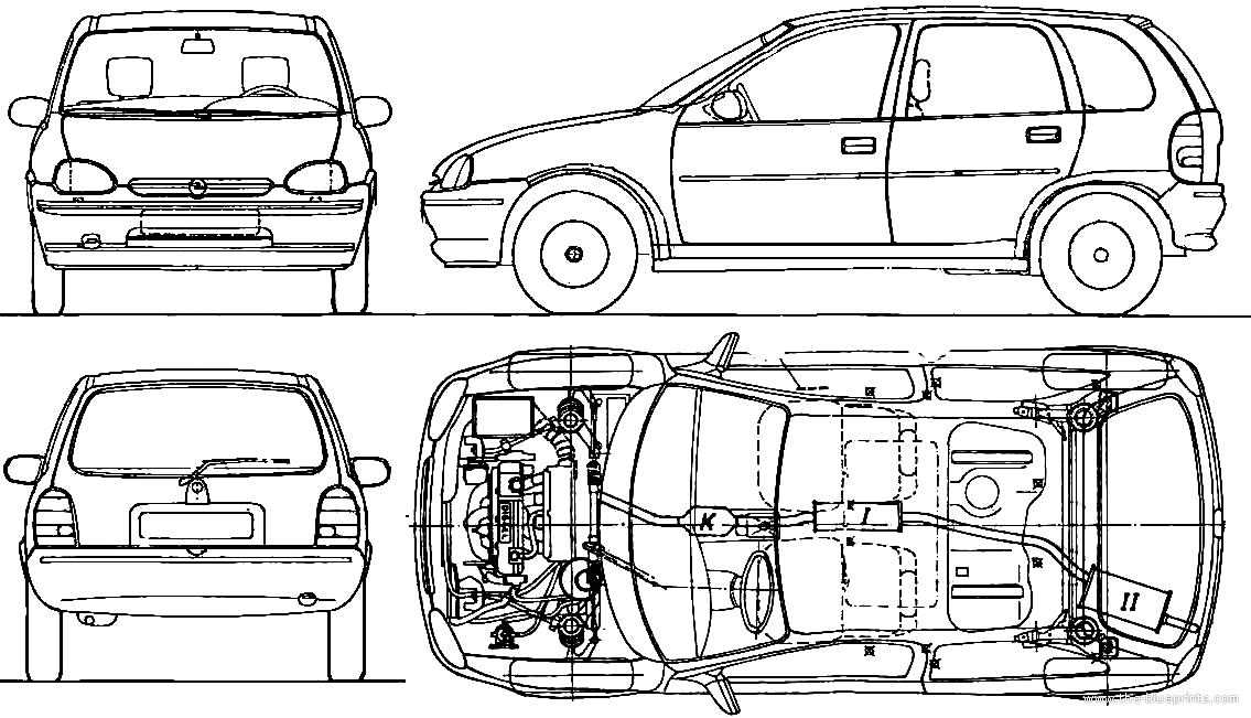 The blueprints blueprints cars opel opel corsa b 5 opel corsa b 5 door 1994 malvernweather Image collections