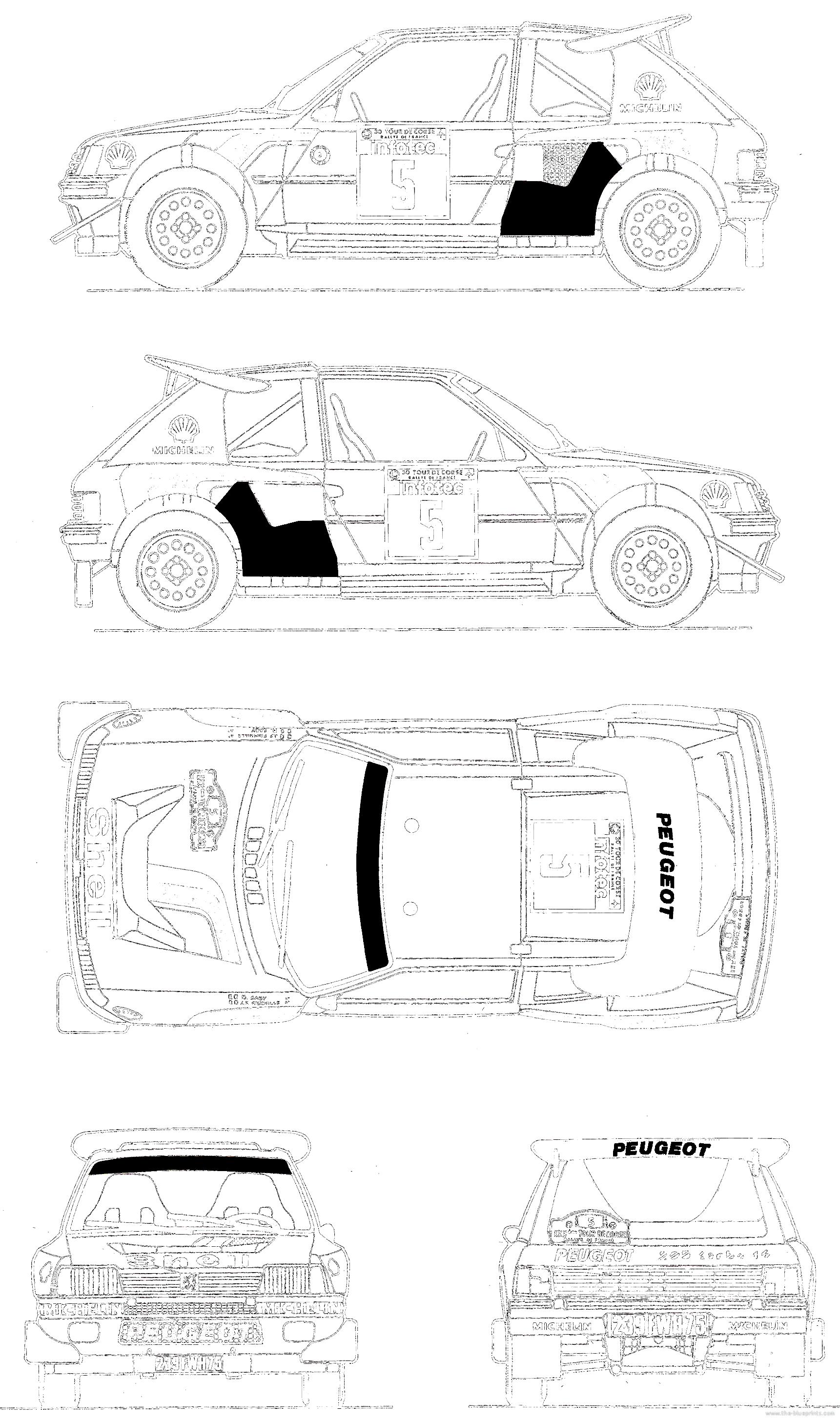 blueprints  u0026gt  cars  u0026gt  peugeot  u0026gt  peugeot 205 turbo 16  1985