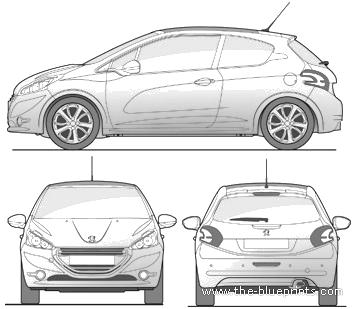 Blueprints cars peugeot peugeot 208 3 door 2015 peugeot 208 3 door 2015 malvernweather Choice Image