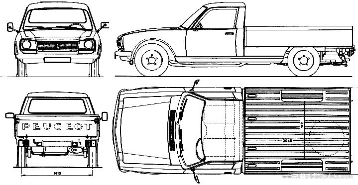 Blueprints Cars Peugeot Peugeot 504 Pick Up 1980