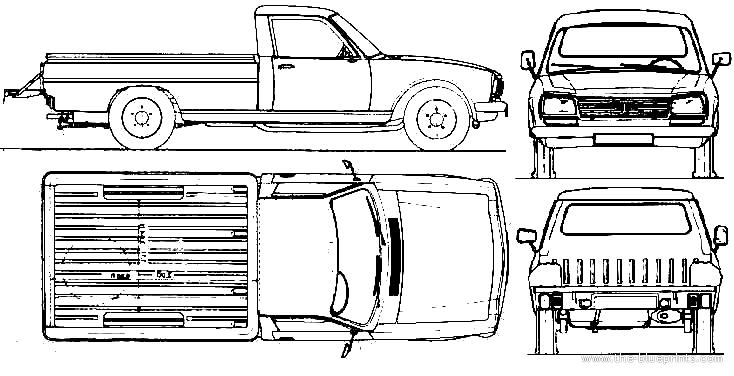 Blueprints Cars Peugeot Peugeot 504 Pick Up 1985