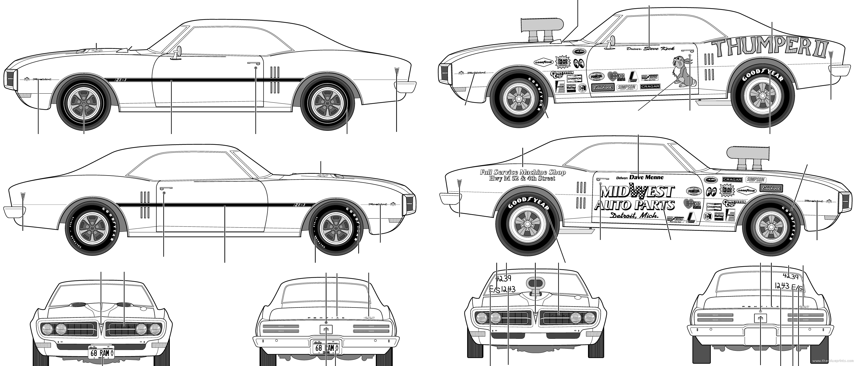 Blueprints > Cars > Pontiac > Pontiac Firebird 400 Ram Air (1968)