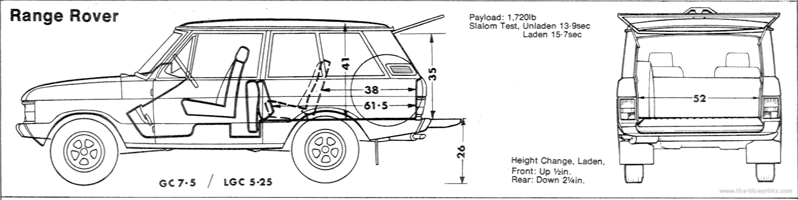 the blueprints cars range rover range rover 3 door 1975. Black Bedroom Furniture Sets. Home Design Ideas