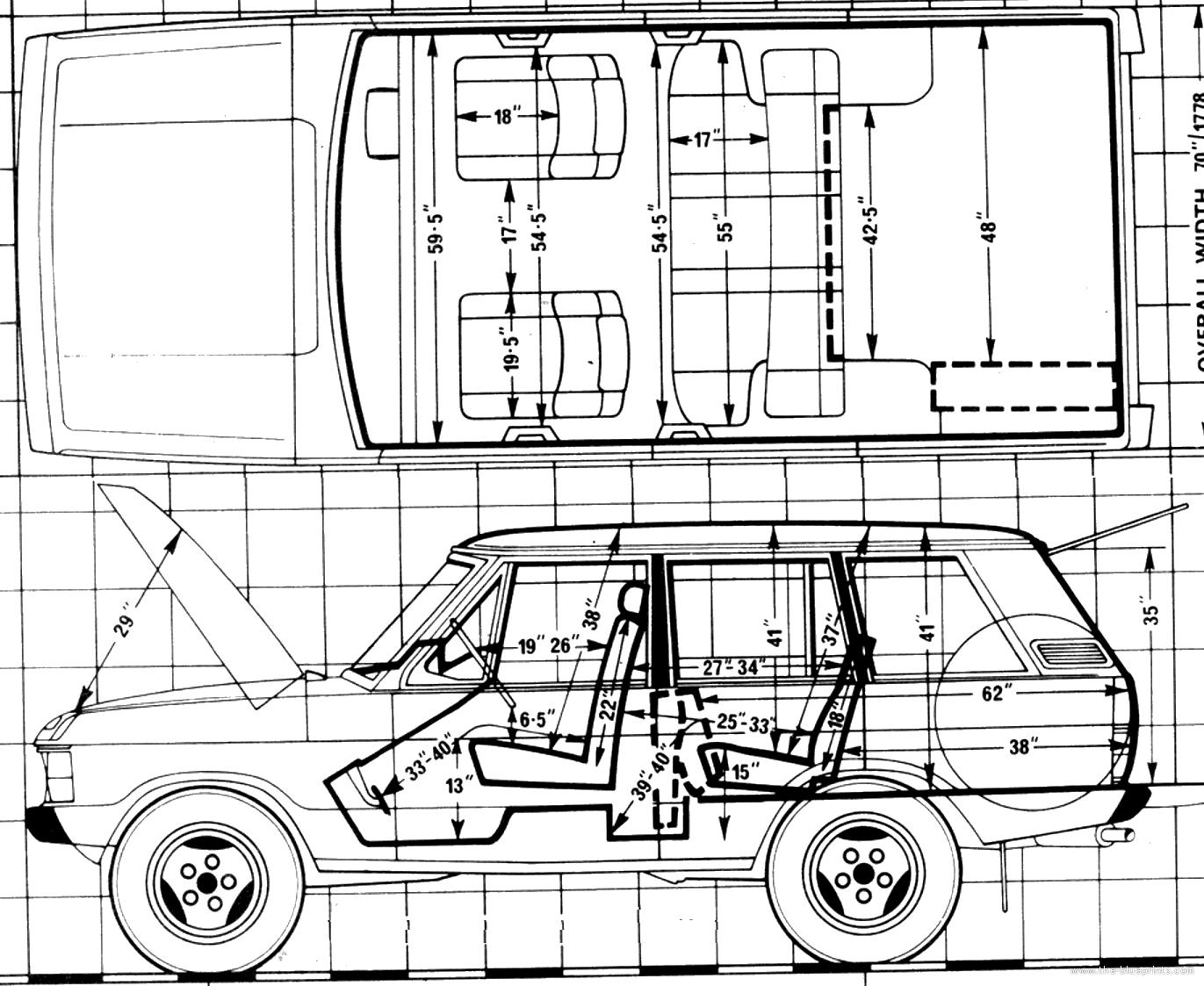 blueprints cars range rover range rover 3 5 v8 4 door 1981. Black Bedroom Furniture Sets. Home Design Ideas
