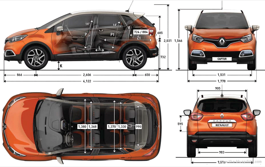 the blueprints cars renault renault captur 2013. Black Bedroom Furniture Sets. Home Design Ideas