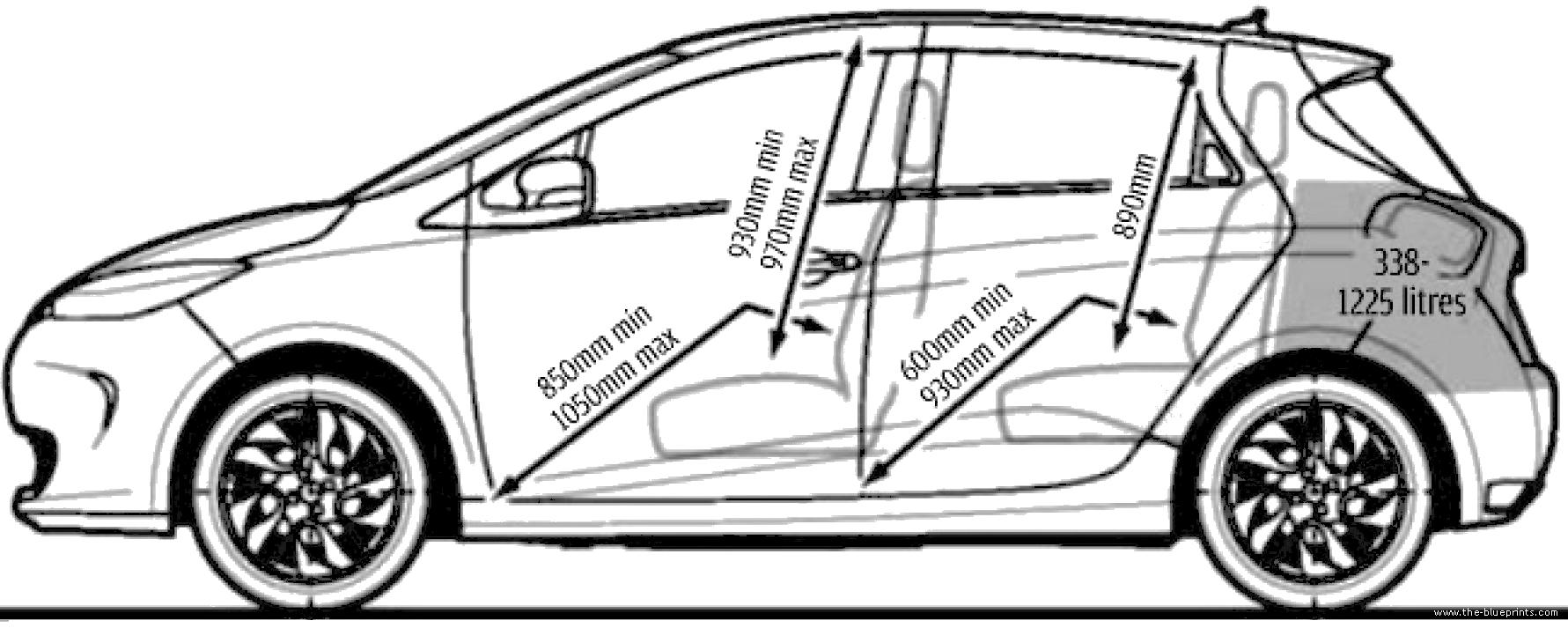 the blueprints cars renault renault zoe 2013. Black Bedroom Furniture Sets. Home Design Ideas