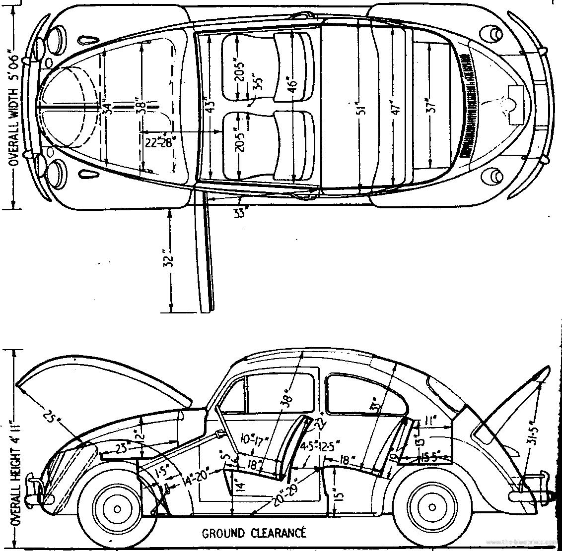 Blueprints > Cars > Volkswagen > Volkswagen Beetle 1200 (1962)