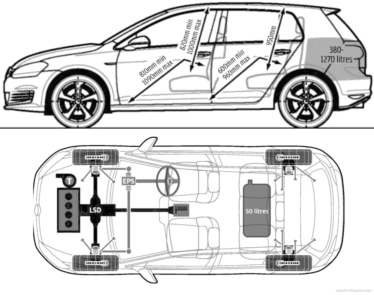 dimension golf 7  volkswagen golf interior dimensions