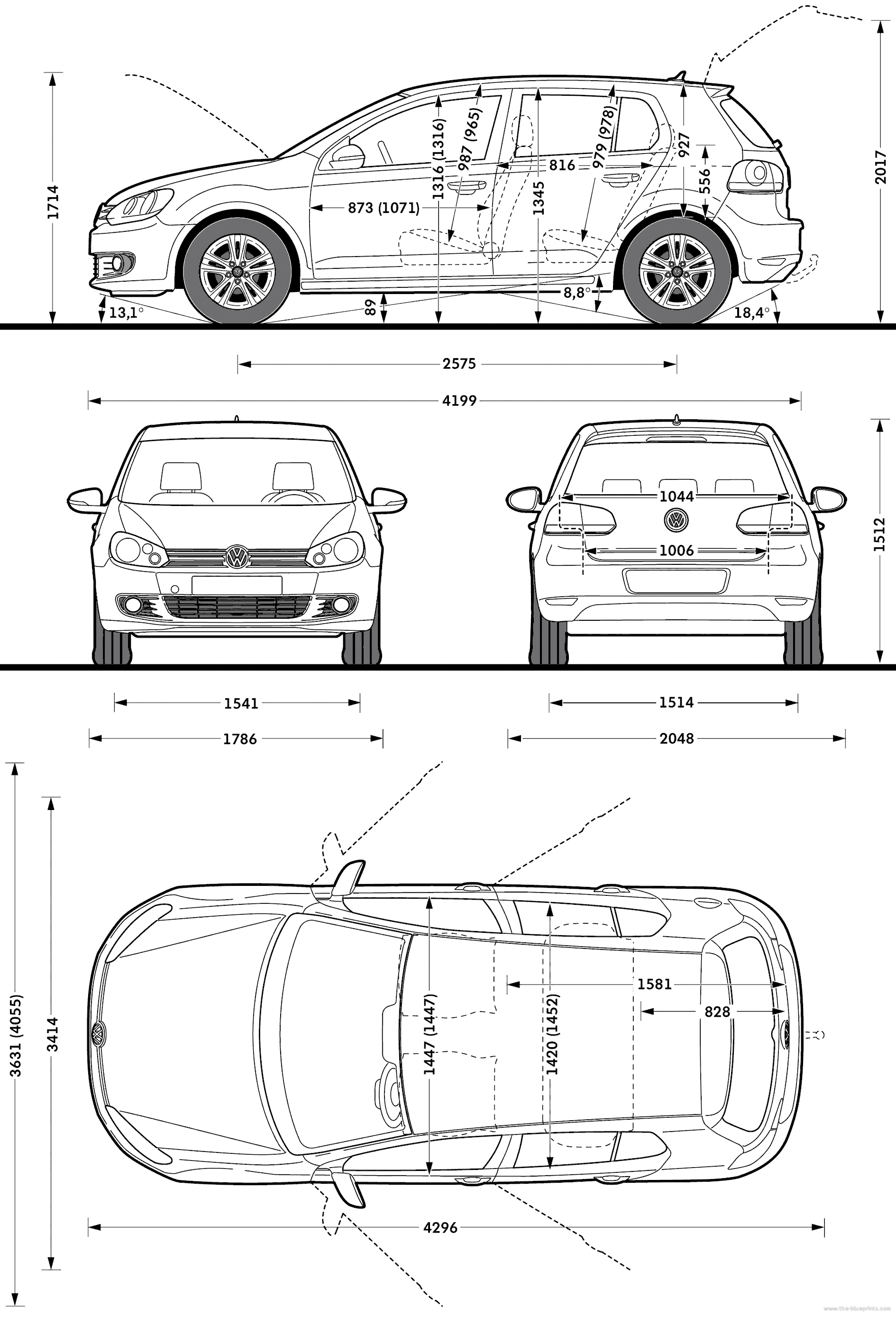 Dimensions of vw golf for Blueprint sizes