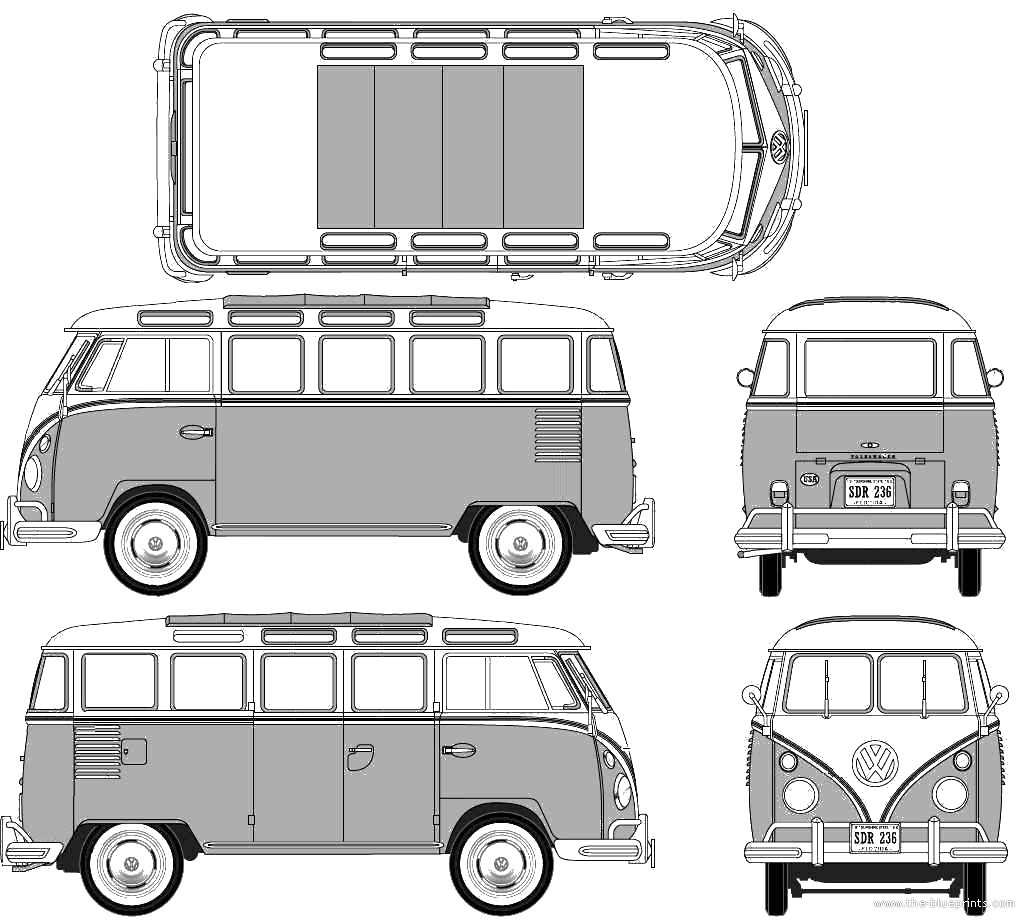 blueprints cars volkswagen volkswagen t1 samba bus. Black Bedroom Furniture Sets. Home Design Ideas