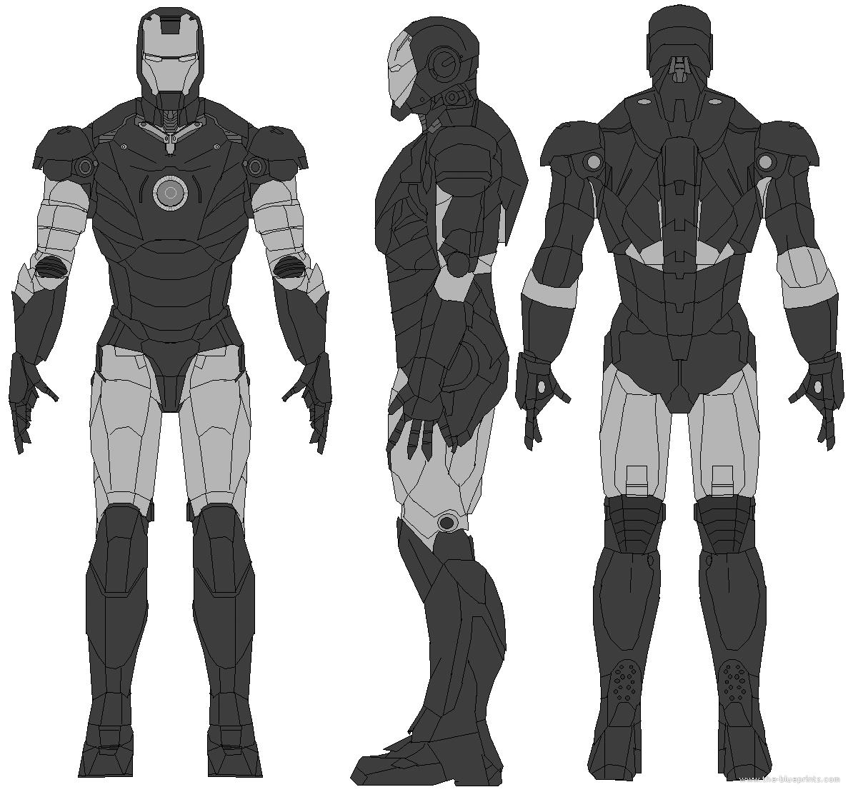 Black And White Iron Man Armor Blueprints