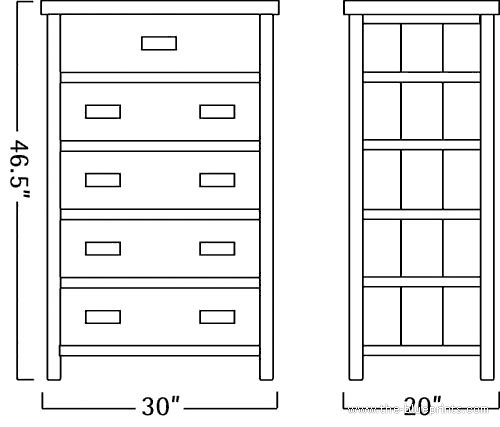 Blueprints Miscellaneous Furniture Old Forge Five Drawer Dresser