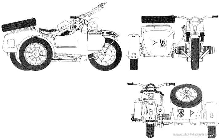 Beautiful Sidecar Blueprints #7: BMW R75 M Sidecar
