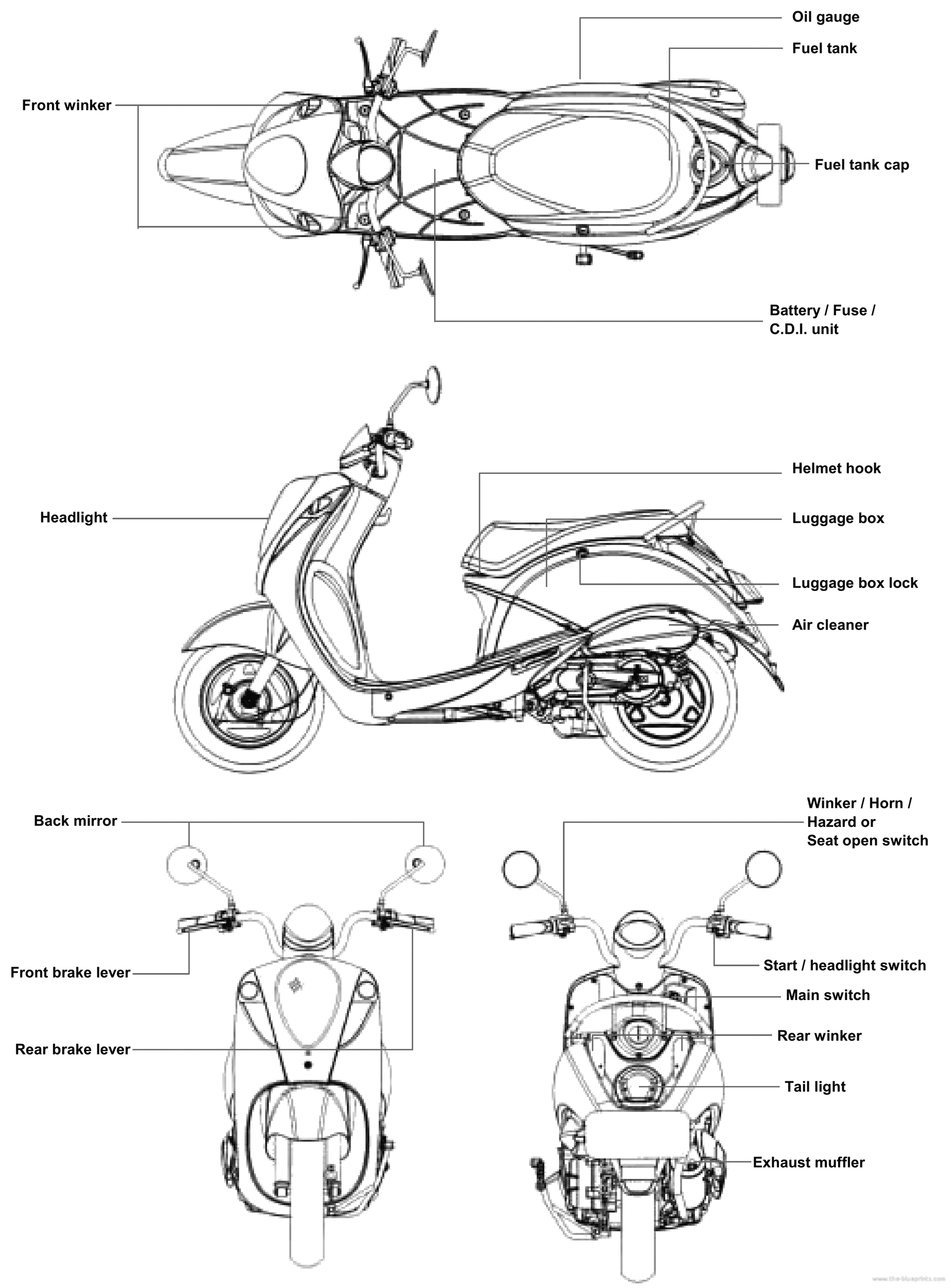 electric scooter engine diagram