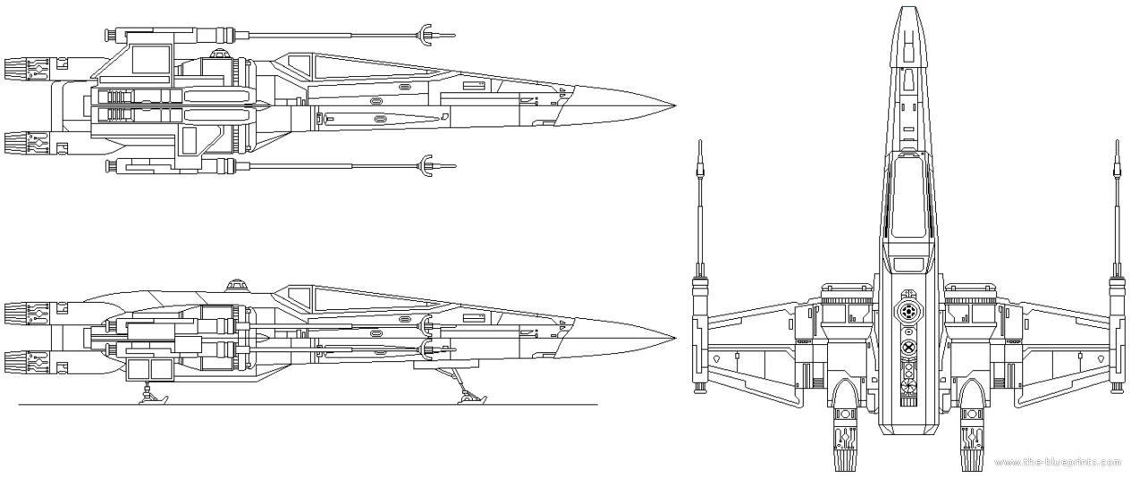 Blueprints > Science fiction > Star Wars - Rebel > Star Wars T-70 X ...