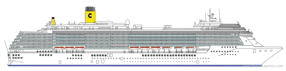 TheBlueprintscom Blueprints Ships Ships Other SS Costa - Cruise ship drawings